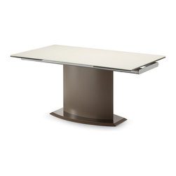 DomItalia Furniture - Discovery Extendable Table in Sand and Taupe - Boasting a clean and sleek design, the Discovery Extendable Table in Sand and Taupe is modern to the core! It elegantly complements many dining room interiors. It features a tempered glass top and a sturdy steel base blending effortlessly with neutral taupe finish. Table is equipped with two glass extensions sliding out on either end for occasions when extra space is needed.
