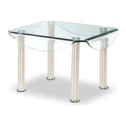 Global Furniture - Drop Leaf Glass End Table - Made of glass and Chrome metal. 24 in. W x 24 in. D x 18 in. H (41 lbs.)