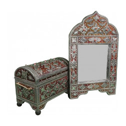 Moroccan Mirror & Chest - Hand-crafted Moroccan Mirror and Chest, matching set. This is the perfect example of craftsmanship consisting of engraved Berber metal and leather design that requires great dexterity in addition to  Berber amber inlaid.
