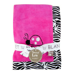 "Trend Lab - Receiving Blanket - Framed Zahara Zebra - Keep your little one warm and secure with this Zahara Zebra Framed Receiving Blanket by Trend Lab. Soft pink coral fleece is framed by a cotton percale zebra print in black and white. A ladybug embroidered applique in the corner adds the finishing touch! Blanket measures 30"" x 40""."