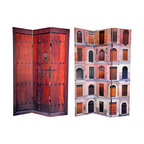 Oriental Unlimited - 6 ft. Tall Double Sided Doors Canvas Room Div - One double-sided divider, both sides shown in image. Open up new design possibilities with these stunning images of remarkable European doors and doorways. On the front is a colorful collage of unique portals from Ferrara Italy, each beautifully carved and expertly photographed. On the back is timeless image of a heavy, black iron fitted set of courtyard double doors, set into a wonderful hand carved jam. These uniquely attractive photographs will bring beautiful decorative accents to your living room, bedroom, dining room or kitchen. This 3 panel screen has different images on each side. High quality wood and fabric covered room divider. Well constructed, extra durable, kiln dried Spruce wood frame panels, covered top to bottom, front, back and edges. With tough stretched poly-cotton blend canvas. 2 Extra large, beautiful art prints - printed with fade resistant, high color saturation ink, creating 2 stunning, long lasting, vivid images, powerful visual focal points for any room. Amazingly inexpensive, practical, portable, decorative accessory. Almost entirely opaque, double layer of canvas, providing complete privacy. Easily block light from a bedroom window or doorway. Great home decor accent - for dividing a space, redirecting foot traffic, hiding unsightly areas or equipment, or for providing a background for plants or sculptures, or use to define a cozy, attractive spot for table and chairs in a larger room. Assembly required. 15.75 in. W x 70.88 in. H (each panel)
