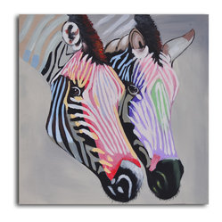 """Pastel Zebra Duo"" Hand-Painted Canvas Art - Show your stripes! This dapper duo is rendered in an unexpected color palette for a modern attitude. Use the hand-painted canvas to infuse your walls with a pop of color and pattern."