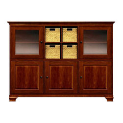 Howard Miller Custom - Molly Cabinet w 2 Doors in Newport Cherry - This cabinet is finished in Newport Cherry on select Hardwoods and Veneers, with Antique Bronze hardware. 2 doors with plain Glass and 3 beveled panel doors. 1 cross storage shelf and 4 small woven baskets. 5 adjustable interior shelves. Cove profile top and Ogee profile base. Hardware: knob on doors. Features soft-close doors and metal shelf clips. Ships in 2 cartons. Simple assembly required. 73 1/2 in. W x 17 in. D x 54 3/4 in. H
