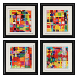Paragon - Color Blocks PK/4 - Framed Art - Each product is custom made upon order so there might be small variations from the picture displayed. No two pieces are exactly alike.