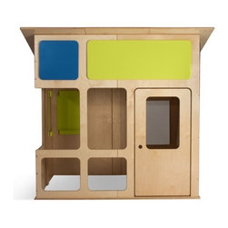 True Modern - Playhouse - The MD-20 Playhouse comes from prefab designer Edgar Blazona of Modular Dwellings and in collaboration with True Modern. It's made with Eco-friendly and sustainable birch plywood and non-toxic clear and painted finishes. However, if you do decide to leave it outdoors, we strongly suggest covering it when not in use. True Modern will offer a cover in the near future. Features: -Two interior wall-mounted paper tablet & Marker/Pen holders (tablets & pens not included).-Not suitable for the outdoors.-Made in the USA.-Material: birch plywood and non-toxic clear and painted finishes.-Removable panels add color.-Distressed: No.-Country of Manufacture: United States.Dimensions: -61.25'' H x 67.5'' W x 58.13'' D, 277 lbs.-Overall Height - Top to Bottom: 61.25.-Overall Width - Side to Side: 61.25.-Overall Depth - Front to Back: 58.13.-Overall Product Weight: 277 lbs.