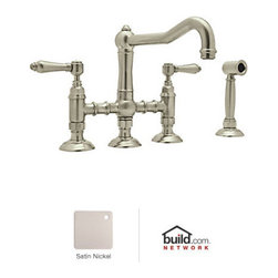 "Rohl - Rohl A1458LMWSSTN-2 Satin Nickel Country Kitchen Country Kitchen Three - Country Kitchen Three Leg Bridge Faucet with Metal Levers Handles and Side SprayBorn in the Piedmonte region of France, an area known for its rich tradition of cuisine and culture, the Country Kitchen collection is defined by exquisite design. Straight lines are paired with gentle curves and ribbing details to create a classic look that is as popular today as it was years ago. And with function set as the cornerstone of all Rohl products, rest assured that the beauty of the Country Kitchen collection does not overshadow its use. Smooth handle operation, lifetime ceramic disc valves, and a sturdy feel that only all-brass construction could allow are all defining features of the Country Kitchen collection. As one of Rohl's largest collections, you will find that there are a variety of bold styles and finishes to choose from.Rohl A1458LMWS-2 Features:All brass faucet body construction - weight: 13 lbs.Hand-machined from solid brass stockIndustry leading, 1/4 turn lifetime ceramic disc valveSuperior finishing process – chemical, scratch, and stain resistantNumber of installation holes required: 4Spout swivels to allow for unobstructed sink accessBridge-style, above the counter mixing valveInsulated brass side spray (not plastic)Center-to-center distance between handle installation holes (faucet centers): 8""2.2 gallons-per-minute flow rateMetal lever handles includedSpout reach: 8-55/64"" (measured from center of faucet base to center of faucet outlet)Low lead compliant – complies with federal and state regulations for lead contentDesigned for use with standard U.S. plumbing connectionsAll necessary mounting hardware includedFully covered under Rohl's limited lifetime warrantyManufactured in New Zealand, Western Europe, and/or North AmericaVariations:A1458LMW"