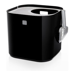 Modko - Modko Modkat Litter Box Black - This award winning cat litter box looks great out and keeps litter in. Modkat is a top entry cat litter box that embraces form as well as function, works with your décor and greatly reduces litter tracking. Its modern, patented design compliments any room, while the enclosed base and rooftop' access allows your cat the privacy needed to do their business.