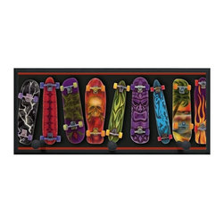 illumalite Designs - Skateboards Plaque w Pegs in Black - Includes hanging hardware. Solid wood base. Made in USA. 20.5 in. W x 4 in. D x 9 in. H (2.50 lbs.)