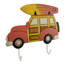 Zeckos - Classic Red Wood Panel Surfer Station Wagon Wall Hook Coat Rack - This salty surfer wagon coat rack can hang ten...or, actually, hang two coats. Loaded up with a surf board, this classic red wood panel station wagon is the surfer's preferred mode of transit. The wagon hangs from the wall via two metal hangers on the reverse side or the rope loops tied to each hanger. Two strong metal ball-tipped hooks fixed below the car will bear the load of a couple heavy coats or some wet clothing. The cold cast resin coat rack measures 12 inches long, 11 inches tall, and 1 1/2 inches deep. This surfer wagon makes a great beach home accent and a suitable place to hang up guest's coats, hats, and wetsuits.