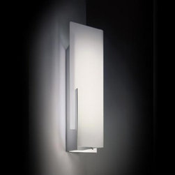 "Leucos - Leucos Manhattan P wall sconce - The Manhattan P wall sconce from Leucos is designed by Danilo De Rossi. Part of a series of wall and table lamps with a satin white or multi-striped glass diffuser, these metal structures come available in polished chrome and titianium painted finish as well as in 3 sizes. The multi-dimensional, architectural sconce provides general illumination. The Manhattan P 24 and P 53 are ADA compliant.  Product Description:  The Manhattan P wall sconce from Leucos is designed by Danilo De Rossi. Part of a series of wall and table lamps with a satin white glass diffuser, the metal structure comes available in polished chrome and titanium painted finish. The multi-dimensional, architectural sconce provides general illumination.      Manufacturer:  Leucos   Designer:  Danilo De Rossi   Made in: Italy   Dimensions:  width: 7 7/8"" (19 cm) x height: 18 1/8"" (46 cm) projection: 5 7/8"" (15 cm)     Light bulb:   1 x 100W Incandescent or 1 x 24W 2G11 fluorescent      Material  glass, metal       Designer Danilo De Rossi:  In 1979, Danilo De Rossi obtains his degree in architecture at the University of Venice.During the academic year 1985/86 he obtains a specialization in lighting engineering at the Polytechnic Institute of Milan. In 1983 he takes up the independent profession in Venice, where he lives and works, developing experience in design and furnishings, lighting and furnishing accessories, exhibiting at different design selections. During the same year, he begins his long co-operation with LEUCOS, dealing with design management and product industrialization and becomes Art Director in 1996. Awards and Achievements:  1999   2nd place ""Best Booth Presentation""   HOSPITALITY DESIGN- LAS VEGAS   2002   1st place "" Best Booth Award""   LIGHTFAIR INTERNATIONAL - SAN FRANCISCO   CA   2003   1st place ""Best of Category Award"" for the lamp CLAIRE   LIGHTFAIR INTERNATIONAL 2003   NEW YORK   2003-2004 GOOD DESIGN Award for the lamp ""GLO"" and for the lamp ""FLEXA""  The Chicago Athenaeum of Architecture & Design.   2005- BEST BOOTH Award   Hospitality Design Trade Show   Las Vegas"