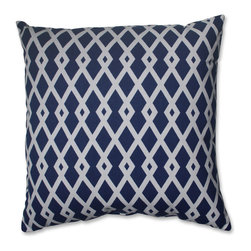 Pillow Perfect - Pillow Perfect Graphic Ultramarine 18-inch Throw Pillow - Add the perfect blend of style and comfort to any space in your home with this 18-inch blue and off-white geometric throw pillow from Pillow Perfect.  Knife edging adds the finishing touch to this wonderful decorative pillow.