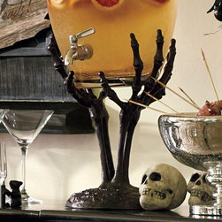 Skeleton Hand Drink Dispenser Stand - I can't get over how fantastic this drink holder is! It's perfectly creepy but not gaudy or gory.
