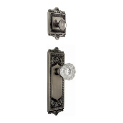 Nostalgic Warehouse - Nostalgic Egg and Dart Plate with Crystal Knob in Antique Pewter (733261) - With its distinctive repeating border detail, as well as floral crown and foot, the Egg and Dart Plate and Deadbolt in antique pewter resonates grand style and is the ideal choice for larger doors. Add our Crystal Knob, with its smooth center flawlessly flowing into fluted edges, for a striking match. All Nostalgic Warehouse knobs are mounted on a solid (not plated) forged brass base for durability and beauty. Only interior half, Must be paired with Nostalgic Warehouse Exterior Handleset.
