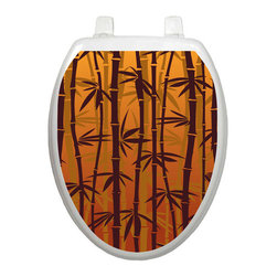 Decorate your toilet lid - Style TT-1033-O Bronzed Bamboo Toilet Tattoo  Size: Elongated