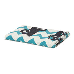 """in2green - Eco Baby Zig Zag Truck Throw, Aqua - Our throws are all knit in the USA with a blend of recycled cotton yarn (74% recycled cotton yarn, 24% acrylic, 2% other), generously sized at 50"""" x 60"""" and machine wash and dry...how easy is that!"""
