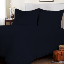 Egyptian Cotton Fitted Sheet With Duvet Set 600 TC Solid (Twin, Navy Blue) By Fa - This is 1 Fitted sheet (39 x 80 inches), 1 Duvet Cover (68x90 inches) and 2 Standard Size Pillowcases (20x30 inches) only.