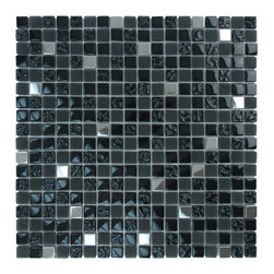 "Glass Tile Oasis - 5/8"" x 5/8"" Black Crystile Blends Glossy & Frosted Glass and Stone - Our Crystile Series offers a wide range of hues to suit your mood and your style! The vibrancy and depth of our crisp smooth, glass results in a unique and dramatic effect for use in both residential and commercial installations."