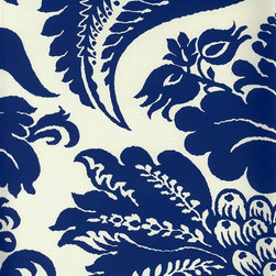 Selenio Damask Wallpaper from Stroheim - Selsnio damask gives you the traditional pattern you know and love in a new oversized presentation. The Bold blue and white creates a stark contrast for modern elegance. Find it in the Blue and White collection from Stroheim at American Blinds and Wallpaper.
