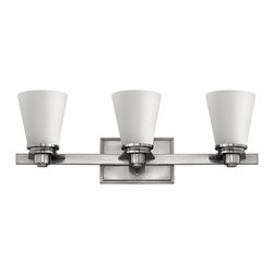 Hinkley Lighting - Avon 3-Light Vanity - From a vintage collection reminiscent of the 1920s and 1930s comes this clean, sophisticated light in brushed nickel. Its timeless design will look stunning in your bathroom and above your vanity.