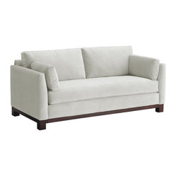 Apt2B - Avalon Apartment Size Sofa, White, 57x37x30 - Designed for city dwellers who can never find the right couch to fit in their loft or apartment, this sofa is stylishly streamlined to slip through your door and sit pretty in your smaller space without crowding the rest of the room. Some of its chic details include sleek arms, a wrap-around wood base, and a single long seat cushion so no one falls between the cracks.