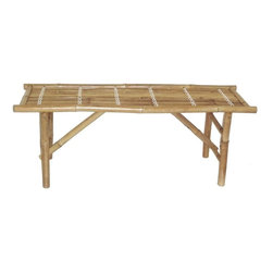 """Bamboo54 - Bamboo Folding Benches - The price is for a set of 3 folding bamboo benches. Strong and sturdy, these are made from """"solid"""" bamboo from Vietnam. Folding makes these portable and easy to use. Makes a great addition to any garden as a plant stand as sell. Measures 18"""" H x 47""""L x 15"""" W ."""