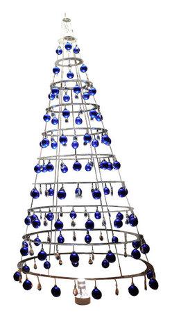 Dream Tree, LLC. - The Modern Christmas Tree, Crystal Clear, 7.5', Glass Bulbs, Blue - 7.5ft tall*/ 15lbs (with ornaments)