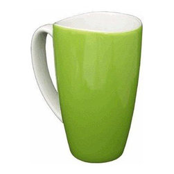 None - Wavy Rim Ceramic 17.5-oz Green Mugs (Pack of 4) - These wavy rim ceramic coffee mugs feature an elegant green finish and white handles. With a dishwasher-safe construction,these easy-to-clean mugs are a kitchen asset.