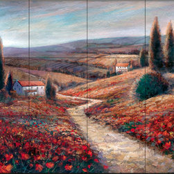 The Tile Mural Store (USA) - Tile Mural - Fields Of Color - Kitchen Backsplash Ideas - This beautiful artwork by Ruane Manning has been digitally reproduced for tiles and depicts a field of poppies and Italian cypress trees.  This garden tile mural would be perfect as part of your kitchen backsplash tile project or your tub and shower surround bathroom tile project. Garden images on tiles add a unique element to your tiling project and are a great kitchen backsplash idea. Use a garden scene tile mural for a wall tile project in any room in your home where you want to add interesting wall tile.