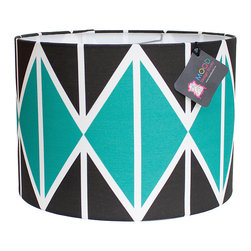 "Mood Design Studio - Modern Lamp Shade - Striing Diamonds - Emerald and Black, 12"" - Mood Design Studio brings bold, modern, and colorful accessories into your home. All of our designs begin on paper by sketching ideas for fabric collections. We research color trends and mix in inspiration from the fashion runways as well as from our favorite mid century design books. Our fabrics are printed in the USA using eco friendly dyes and printing methods."