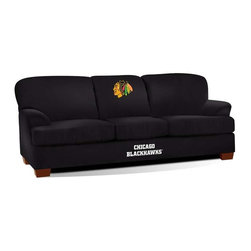 Imperial International - Chicago Blackhawks NHL First Team Sofa - Check out this GREAT First Team Sofa. It's super-comfortable and you won't want to get up from it. Your friends and family will enjoy hanging out watching the big game together at your place. It features team color microfiber and embroidered patch logos to display your favorite team perfectly. Handcrafted by North Carolina craftsmen, this sofa will surely be part of your game day festivities for years to come. This is a true statement piece that is perfect for your Man Cave, Game Room, basement or garage.
