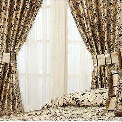 Austin Horn Classics Savona Window Panel-Set of Two - - A rich jacquard, in metallic platinum and black color combinations is mixed with matching silk custom trims.   - Measurements: 84 x 56.   - Dry clean recommended.   - Set of Two, Panels only. Pacific Coast Home Furnishings Inc. - SAV320731-PAN