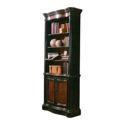 """Hooker Furniture - Preston Ridge Bookcase - White glove, in-home delivery included!  Crafted in fine hardwood solids and cherry mahogany and white ash burl veneers, Preston Ridge is enhanced with a dramatic black finish with physical distressing rub-through and contrasting panels to create a rich two-tone look with the timeworn patina of a treasured family heirloom that has been lovingly touched for many generations.  With such distinguished design elements as wood-framed doors with contrasting wood panels and generously scaled base and crown moldings, Preston Ridge will add style to any room in your home!  Three adjustable shelves, two doors open to provide access to one adjustable shelf, levelers.  Stained top.  Inside of cabinet: 30"""" w x 10 1/2"""" d x 24"""" h  Inside Top Area: 30"""" w x 8 15/16"""" d x 45 7/16"""" h"""