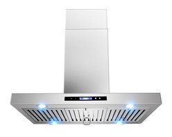 """AKDY - AKDY AK-ZGL9010-1 Euro Stainless Steel Island Mount Range Hood, 36"""" - AKDY 9010-1, designed of brushed stainless steel, this traditional Italian design chimney hood will be the main focal point for your kitchen. Brilliant LED lighting provides impressive illumination over and around the cook top. A powerful, yet quiet internal blower is included for fast and easy installation. Ductless feature is available."""