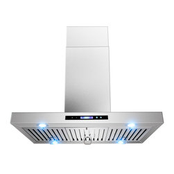 "AKDY - AKDY AK-ZGL9010-1 Euro Stainless Steel Island Mount Range Hood, 36"" - AKDY 9010-1, designed of brushed stainless steel, this traditional Italian design chimney hood will be the main focal point for your kitchen. Brilliant LED lighting provides impressive illumination over and around the cook top. A powerful, yet quiet internal blower is included for fast and easy installation. Ductless feature is available."