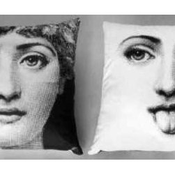 "Fornasetti Pillow Case TV 130-82 - Pillow case with images 130and82 of the Tema e Variazioni series by Piero Fornasetti. 16""x16"". Pure cotton. image 130 is on one side and 82 on the other side of the pillow. palazzett@aol.com, 631-722-3733"