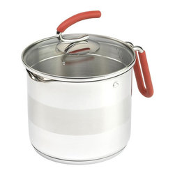 Kuhn Rikon - Kuhn Rikon 4th Burner Multi-Pot - Save steps in the kitchen with this multi-pot from Kuhn Rikon. This universal pot will find a permanent home on your 4th stove burner. Product highlights are silicone covered handles on pot and lid: 18/10 stainless steel with encapsulated bottom suitable for all stoves: pouring spout on pot with strainer lid, that locks in for easy safe draining of liquid: a choice of large and small strainer holes: and interior fill marks up to 7 cups (8 cups total capacity) for easy measuring. This pot will handle any task.
