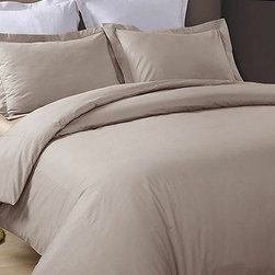 Hotel Grand Collection - Taupe 230-Thread Count Duvet Cover Set - Add this elegant and incredibly soft duvet cover to any bed to make counting sheep a thing of the past. Whether updating the master bedroom or guestroom, this piece of bedding is sure to warm up décor.   Includes duvet cover and two shams (twin sizes include one sham) 100% cotton 230-thread count Machine wash Imported