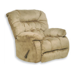 Catnapper - Teddy Bear Steel Base Chaise Rocker Recliner - Hugs you as you recline. Comfortable plush arms. Pillow soft chaise pad seat. Durable steel seat box. Unitized steel base. The strongest, most durable base in the recliner industry. Resists bending or wear. Reclining Mechanism:. Installed with noiseless sure-lock spring clips. Strongest recliner seat box available. No warping or splitting in this critical area (standard on most models). Direct drive cross bar ensures that both sides of the mechanism operate together, in sequence, for longer life. Heavy 8-gauge sinuous steel springs in the seat provide strength, comfort and flexibility. Made of 100% polyester suede with padded foam back. Cleaning Method:. Clean only with water-based shampoo or foam upholstery cleaner. Do not over wet. Do not use solvent. Do not saturate with liquid. Pile fabrics may require brushing to restore appearance. Cushion covers should not be removed and laundered. Pictured in Hazelnut. No assembly required. Limited lifetime warranty. 40 in. L x 42 in. W x 43 in. H (115 lbs.)