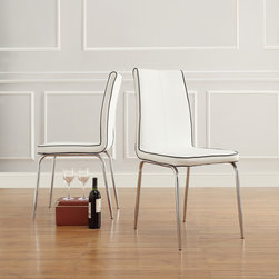 Inspire Q - INSPIRE Q Matilda White Retro Modern Dining Chair (Set of 2) - These simple modern dining chairs feature comfy vinyl seats and backs with contrasting trim. Chrome legs add elegance and stability. Each set includes two chairs. The slender,sophisticated design makes them excellent choices for smaller rooms.
