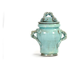 Zentique - Bella Jar, Blue, Small - The Bella Jar features rope like handles with a lid. For decorative purposes only.
