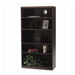 Mayline - Mayline Aberdeen 5 Shelf Bookcase in Mocha - Mayline - Bookcases - AB5S36LDC - The Aberdeen Series of laminate casegoods combine fashionable aesthetics and unparalleled quality all in a package that is surprisingly affordable. Aberdeens transitional style allows it to fit into any environment whether it be modular multi-station work areas or executive offices. Aberdeen provides exceptional abrasion and stain resistance along with technology and cable friendly components.