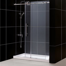 BathAuthority LLC dba Dreamline - Enigma-X Fully Frameless Sliding Shower Door & SlimLine Single Threshold Shower - This DreamLine™ kit pairs the ENIGMA-X™ sliding shower door with a coordinating SlimLine™ shower base for a winning combination. The ENIGMA-X sliding shower door delivers a sleek, Fully frameless design, premium glass and high functioning performance for the look and feel of custom glass at an exceptional value. The coordinating SlimLine shower base incorporates a low profile design for an unobtrusive modern look. Go for the streamlined look and urban style of the ENIGMA-X frameless sliding shower door and coordinating SlimLine shower base for your bathroom renovation.