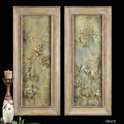 "35099 BAMBOO FLORAL I,II s/2 by Uttermost - Get 10% discount on your first order. Coupon code: ""houzz"". Order today."
