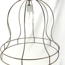 Hanging Pendant Skeleton Bell Frame Shade Industrial by JudisLamps