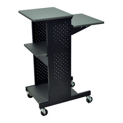 """Luxor - Luxor Presentation Cart - PS4000 - Four laminate work surfaces with steel frame. Second shelf from the top is adjustable in height to 33"""", 37"""" or 40 1/4"""". Measures 18""""W x 30""""D x 40 1/4""""H. Clearance from bottom to middle shelf is 19 3/4"""" middle to top shelf 13 1/4"""". 3"""" casters two with locking brake."""
