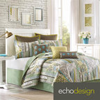 Echo Home - Echo Brand Boho Chic Coverlet with Optional Sham Separates - This Boho Chic coverlet is an exciting mix of patterns which all come together beautifully in green, brown and yellow colorways. The striped, floral design on this coverlet gives your room that easy bohemian look.
