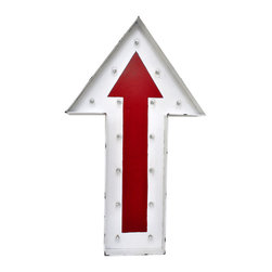 Enchante Accessories Inc - Arrow Sign Metal Wall Decor / Wall Light Fixture (Red) - Metal arrow hanging lighted wall decor sign