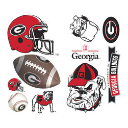 York Wallcoverings - Georgia Bulldogs 22pc College Wall Accent Stickers Set - Features: