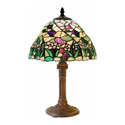 Warehouse of Tiffany - Tiffany-style Lake Table Lamp - Handcrafted using methods first developed by Louis Comfort Tiffany