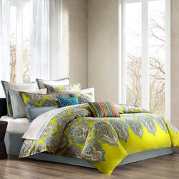 Echo - Echo Rio Comforter Set - Our Rio bedding collection celebrates the brilliant colors and festive mood of Brazil. With detailed and colorful medallions over a bright citron ground, this collection updates any d̩cor with fresh color and exciting pattern. The comforter reverses to a solid cool, blue-grey. Face: T300 100% cotton sateen fabric; Back: T180 100% cotton solid; 100% polyester filling; Bedskirt: 80/20 polyester cotton fabric for the platform, T180 100% cotton solid fabric for the drop.